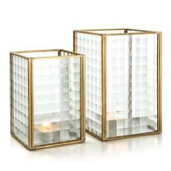 Lysglass Guri sett a 2 stk glass m/gullkant