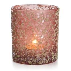 Telysglass Gloria m/glitter rosa 9 cm