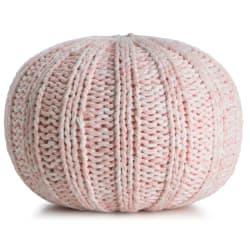 """Puff strikket """"mini"""" rosa/hvit melert H:25 Ø:40 cm"""