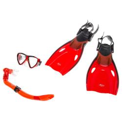 Svømmeføtter inkl snorkel og maske rød