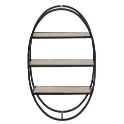 Hylle oval sort natur 59,5x12x35cm