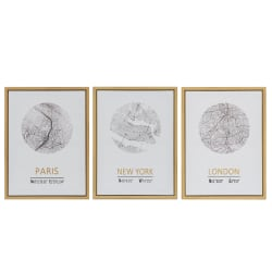 Bilde New York London Paris 3 ass natur 45x60cm