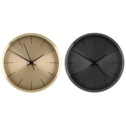 Veggklokke assortert farge sort gull ø:25,8cm