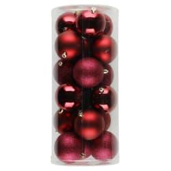 Julekule 18-pk matt blank glitter rød 8cm
