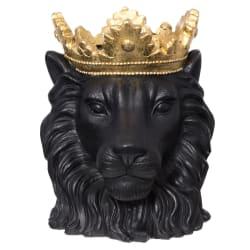 Potte løvehode sort gull 39cm
