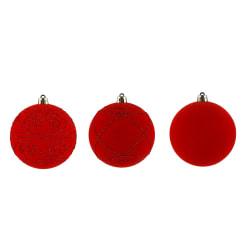 Julekule 4-pk rød 8cm