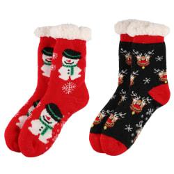Strømper med juledekor voksen rød sort