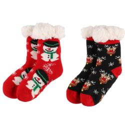 Strømper med juledekor barn rød sort