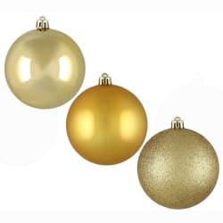 Julekule 18-pk matt blank glitter gull 8cm