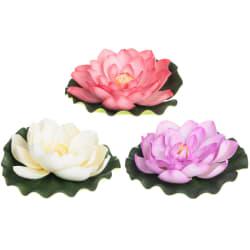 Blomst vannlilje kunstig 21cm ass lilla rosa hvit