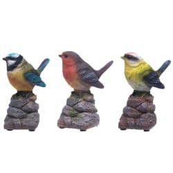 Dekorfugl syngende med sensor 3 ass display 10cm