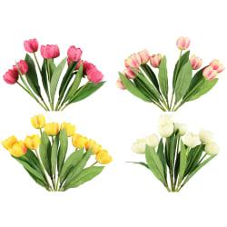 Bukett tulipan åpen kunstig 4 ass farger 41cm