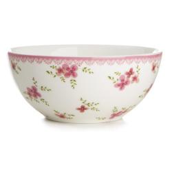 Skål Songvaar hvit m/rosa blomsterdekor