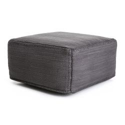 Puff firkantet grå med mørk grå stikninger 50x50 H:25 cm