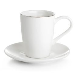 Enjoy Kaffekopp Saga hvit med sølvkant  H:8 B:12,5 D:12,5