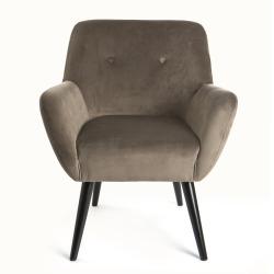 Stol Velvet m/armlene og sorte ben grå