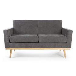 Sofa 2-seter grå m/ben i gummitre