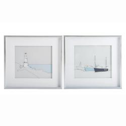 Bilde 2 ass m/trykk av båt/fyrtårn grå ramme