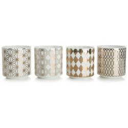 Telysglass 4 ass mønster hvit/gull porselen H:7 cm