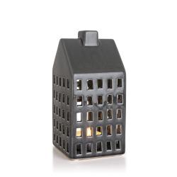 Lykt hus grå H:22 cm