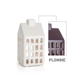 Lykt hus plomme H:10 cm