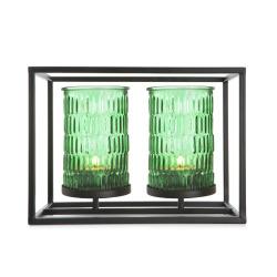 Telysholder dobbel i grønt glass i metallstativ