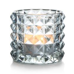 T-lysglass Diana glass blå H:8,5 cm
