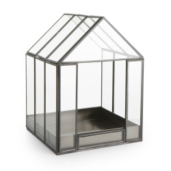 Dekorhus i glass og metall H:26 B:19