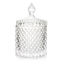 Skål m/lokk slipt glass H:18 cm