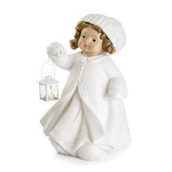 Jente m/hvit kjole og lykt H:52 cm
