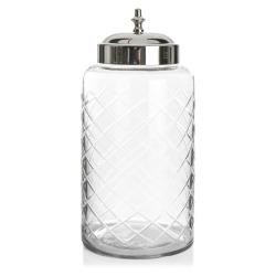 Glasskrukke m/slipning og sølvlokk H:27 cm
