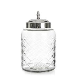Glasskrukke m/slipning og sølvlokk H:18 cm