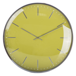 Klokke rund m/ farget tallskive gul Ø:40 cm
