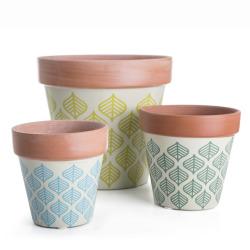 Potte s/3 i terracotta m/bladmønster i gul/grønn/blå