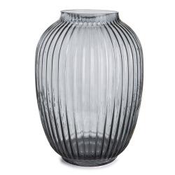 Vase glass m/riller mørk grå H:25 cm