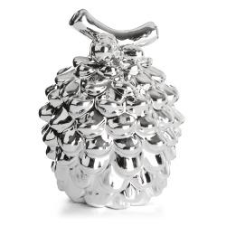 Dekorkongle furu porselen sølv H:11,5 cm