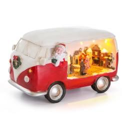 Dekorfigur Nostalgi folkevognbuss med ledlys rød