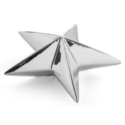 Dekorstjerne porselen sølv H:19 cm