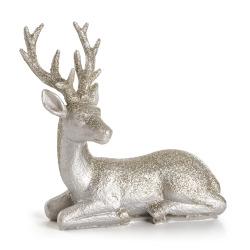 Dekorreinsdyr Nostalgi liggende sølv 14 cm
