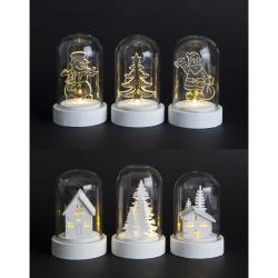 Dekorfigurer i kuppel 6 ass m/1 LED lys H:9 cm