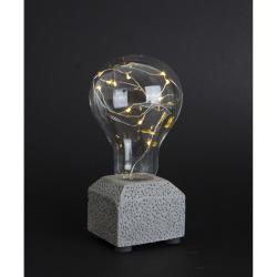 Lyspære m/20 LED lys på betongfot H:17 cm