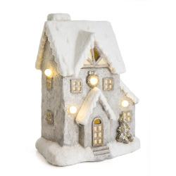 Dekorhus i keramikk m/5 LED lys H:37 cm