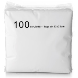 Servietter 1-lags 100 stk. hvit