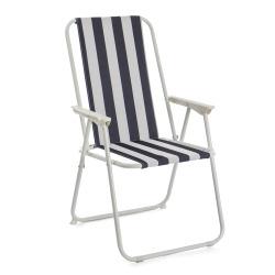 Campingstol høy rygg stripet m/polstring