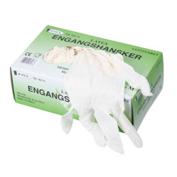 Engangshanske latex m/pudder L 100 pk