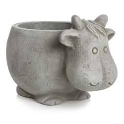 Potte kufigur keramikk grå