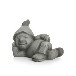 Hagefigur gnom liggende keramikk grå