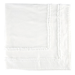Duk Adele 90x90 hvit m/ruflekant 100% lin
