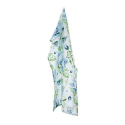 Kjøkkenhåndkle med rosemønster i blåtoner Songvaar