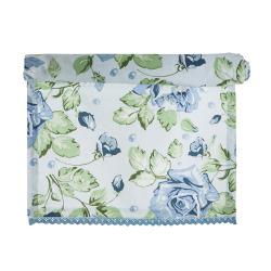 Løper med rosemønster i blåtoner Songvaar 40x100 cm